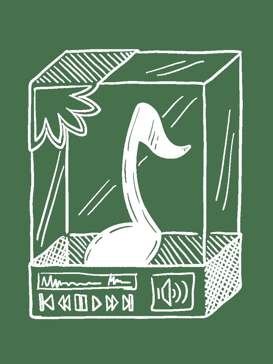 Eine gezeichnete würfelförmige Museums-Vitrine, in der sich eine Musiknote befindet